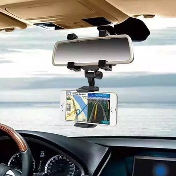 Universal - 360 Degree Car-styling Rearview Car Phone Holder Mirror Mount Holder Stand Cradle Mechanical Clamp For Cell Phone
