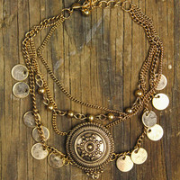 Etched Medallion Multi Chain Bracelet - Antique Gold – Sugarcloth