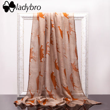 Ladybro Women Long Scarf Shawl Brand Lady Scarf Fox Animal Print Infinity Ring Wraps Cute Bufandas Pashmina Voile Scarves Female