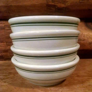 Vintage Sterling Vitrified China Diner Bowls, White and Green Side Bowls, Small Heavy Bowls- Set Of Four