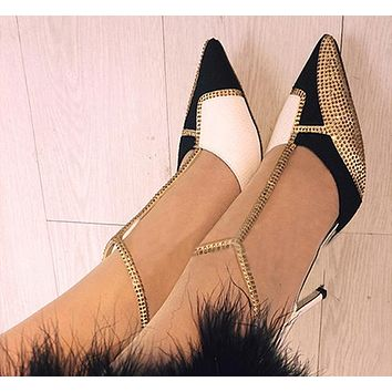 Diamonds Fashion Women Ankle Strap Sandals High Heels Shoes