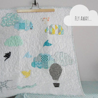 Patchwork Baby Stroller quilt/playmat quilt,Fly Away,Clouds/Hot air balloons,Aqua/blue/yellow,Nursery decor,Shower gift idea,Made to order