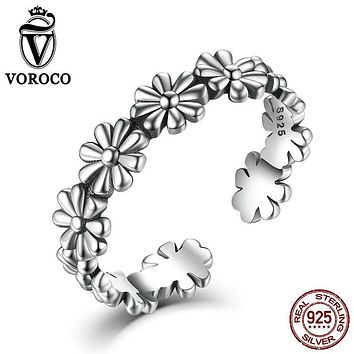 VOROCO Pure Silver Flower Floral Adjustable Open Finger Rings 925 Sterling Silver for Women Wedding Gift Rings VSR046