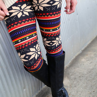 Vintage Winter Print Leggings