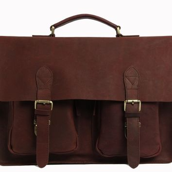 Venice Vintage Leather Briefcase in Dark Coffee