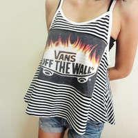 Vans Off The Wall Tank Top Skateboard Singlet Blouse Women Tenn Girl Size M