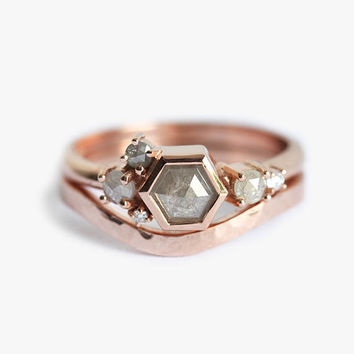 Rose Gold Cluster Ring, Rose cut diamond Ring, Diamond Cluster Ring, Grey diamond Cluster, Small Cluster Ring, Modern Wedding Ring Set