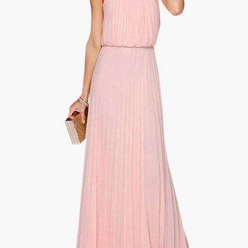 Halterneck Pleated Chiffon Maxi Dress - 2 colors
