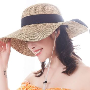 Sun Women Straw Hat UPF 50+ Beach Finshing Hats for Women Bucket Hat with Neck Cord