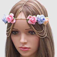 Romantic Roses Draped Head Chain Flower Crown Headband - Pastel Pink