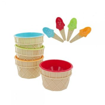 4pc Ice Cream Bowl-spoon OB868