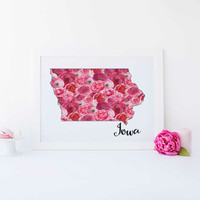 Iowa map Print map art State map print Map wall print Printable state poster Any state wall design Print wall art Print Usa map poster