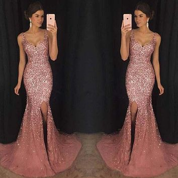 2019 Women Summer Long Dress Vintage Sexy Elegant Party Night Dresses Sequined Pink Women Dress
