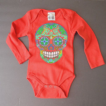 Red Mendhi Skull Trendy baby clothes Hippie Baby 3 6 9 12 months Baby Shower gift boy girl Hipster Long Sleeve Bodysuit Fall Baby romper