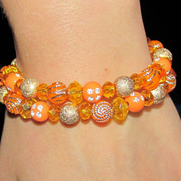 Orange Healing bracelet crystal Beads Spiral Bracelet memory wire Handmade Yoga Shaman Gift idea Ukraine Christmas colored multi wrap beads