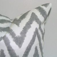 Gray.Pillow.Chevron.12x16 or 12x18 inch.Decorator Pillow Covers.Printed Fabric Front and Back.Housewares.Home Decor.Cushions.cm