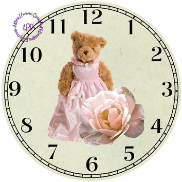 """Teddy Bear with a Pink Rose Art - -DIY Digital Collage - 12.5"""" DIA for 12"""" Clock Face Art - Crafts Projects"""