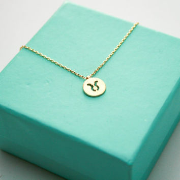 Gold Taurus Zodiac Sign Necklace, Dainty Taurus Necklace, Tiny Zodiac Sign Jewelry, Astrology Birthday Sign Necklace