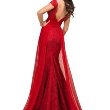 Hhdress Red Lace Wedding Dresses Prom Long Bridesmaid Mermaid Evening