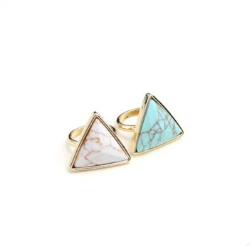 Natural stone ring,Triangle ring,Personality fashion rings, a perfect gift