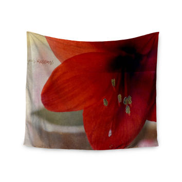 "Robin Dickinson ""Count Your Blessings"" Red Floral Wall Tapestry"