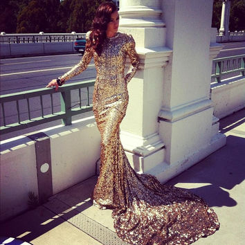 Sexy Abayas Dubai Modest Long Sleeve Gold Evening Dresses Sequin Prom Dresses With Train Party Gown Special Occasion Dresses