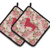 Dachshund Shabby Chic Pink Roses  Pair of Pot Holders BB1088-RS-PK-PTHD