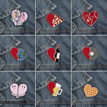 2pcs/set Enamel Pin Heart Wine Bottle Earth Cup Pizza Brooch Badges for Clothes Bags Backpacks Jewelry Fashion Pins Cute Lapel Gift