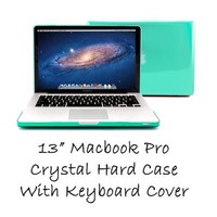 "GMYLE (R) Turquoise Robin Egg Blue Clear Crystal See Thru Hard Shell Clip Snap On Case Skin Cover for Apple 13.3"" inches Macbook Pro Aluminum Unibody - With TPU Transparent Protective Keyboard Cover - 2 in 1 -"
