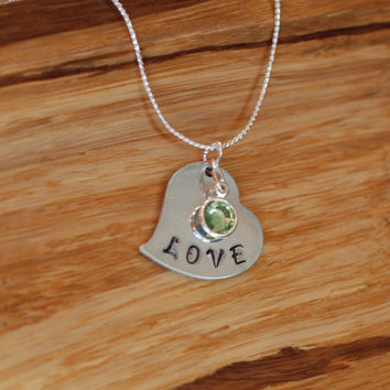 Love Heart Metal Stamped, on a Sterling Silver Necklace with One Birthstone, Handmade