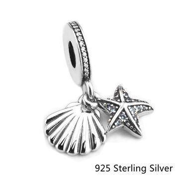 CKK Authentic 925 Sterling Silver Jewelry Tropical Starfish & Sea Shell, Frosty Mint C