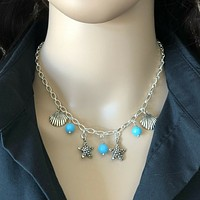 Silver Starfish and Shell Chain Necklace