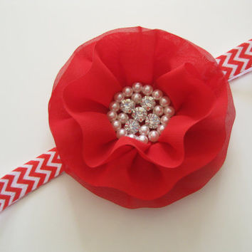 Girls red rhinestone flower headband - red chevron headband, toddler headband, newborn photo prop, baby headband, UK seller
