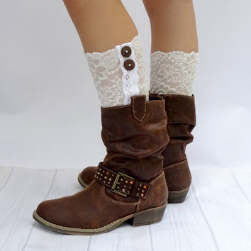Ivory lace Boot cuffs,leg warmers,shoe toppers by Cristabela's Boutique for Girls and women..