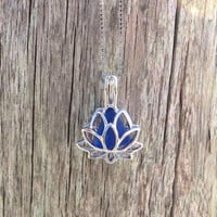 Cobalt Blue Sea Glass Sterling Silver Lotus Flower Locket by Wave of LIfe