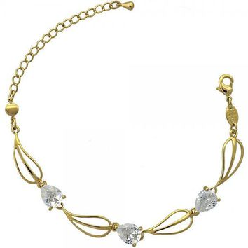 Gold Layered 5.028.011 Fancy Bracelet, Leaf Design, with White Cubic Zirconia, Polished Finish, Gold Tone