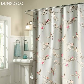 DUNXDECO Shower Curtain Bathroom Waterproof Cortinas French County Style Flora Birds Gray Print Rideau Home Decoration