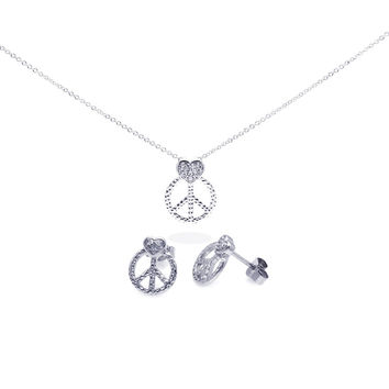 .925 Sterling Silver Rhodium Plated Open Peace Sign Cubic Zirconia Stud Earring & Necklace Set