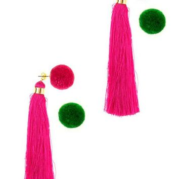 BAJA POM POM TASSEL EARRINGS - PINK + GREEN