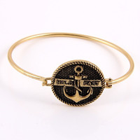 Hold Fast Anchor Bangle Bracelet - Antique Gold or Silver
