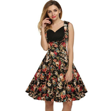 Print Floral 50s 60s Vintage Dresses Audrey Hepburn Sleeveless 2017 New Style Summer Retro Dress Vestidos Robe Womens Clothing