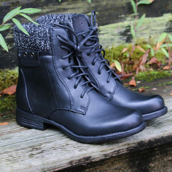 Shady Groves Black Lace Up Combat Ankle Boots With Sweater Detail
