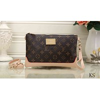 """Louis Vutitton"" Women Clutch Casual Fashion Multicolor Classic Tartan Print Zip Wallet Wristlet Bag"