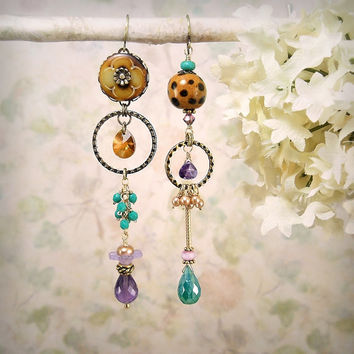 Catwalk - Asymmetric Mismatch Earrings, Gypsy Bohemian, Turquoise Caramel Purple, Cheetah, Vivid Colors, Ceramic, Bone, Green Onyx, Amethyst