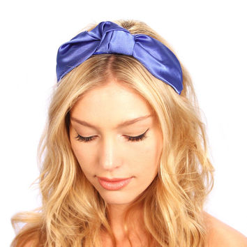 Royal Blue Satin Knot Turban Headband Hat Headpiece