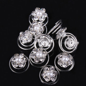 12pcs Rhinestone Flower Swirl Spiral Wedding Twist Coils Hair Spin Pins Women Hair Accessories Tiaras Jewelry Hairpin Hairclips