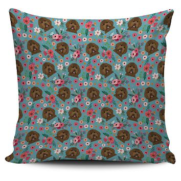 Labradoodle Flower Pillow Cover