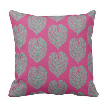 Leaf Sketch Throw Pillow