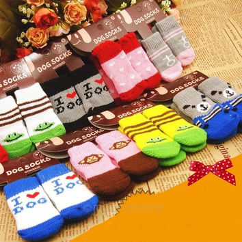 Anti-Slip Knit Weave Cotton Warm Skid Bottom Cute Socks for Pet Dog = 1958494212