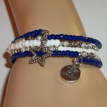 Dallas Cowboys Themed Glass Beaded Artisan Crafted Wrap Charm Bracelet